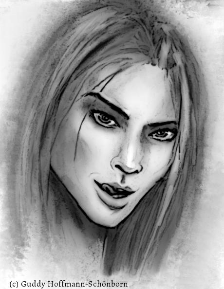 Portrait von Idra (schwarz/weiß)
