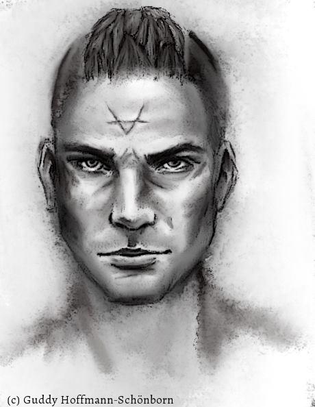 Portrait von Varek (schwarz/weiß)