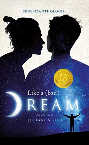 """Cover der Anthologie """"Like a bad dream"""" (zwei Männer im Profil, einander zugeneigt, im Hintergrund ein Sternenhimmel mit einem hell glänzenden Mond)"""