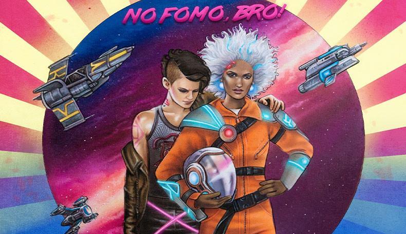 Poster zu Aces in Space, zwei Personen in futuristischer Pilotenkleidung, bunt im 80er Jahre Stil, darüber steht: No Fomo, Bro.