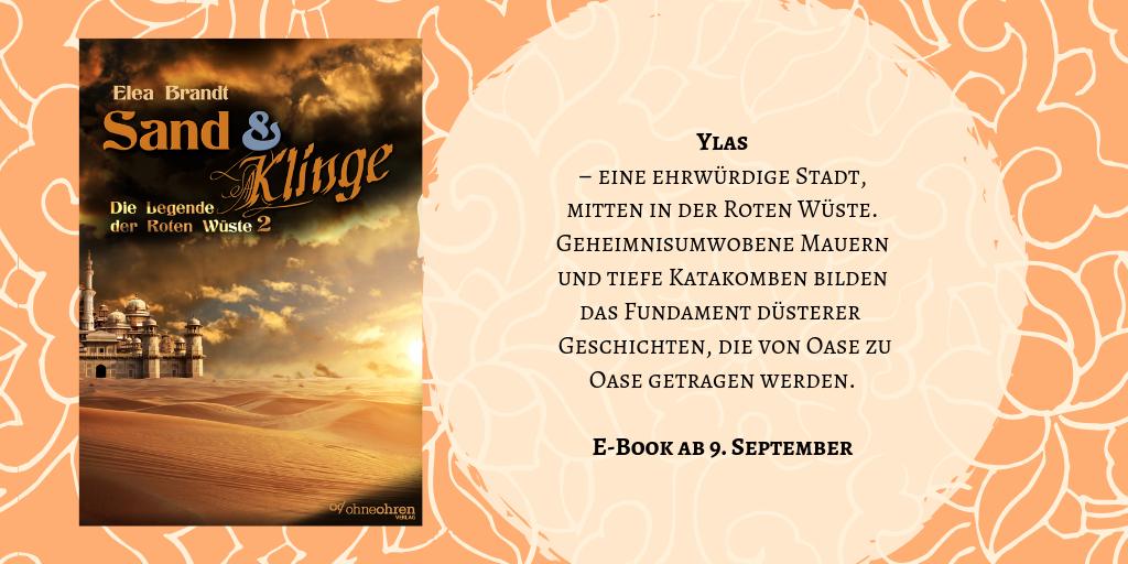 """Cover des Romans """"Sand & Klinge"""" sowie Ausschnitt aus dem Klappentext"""